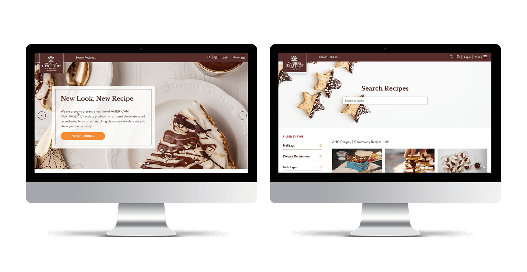 American Heritage Chocolate iMac mockups showing new website design