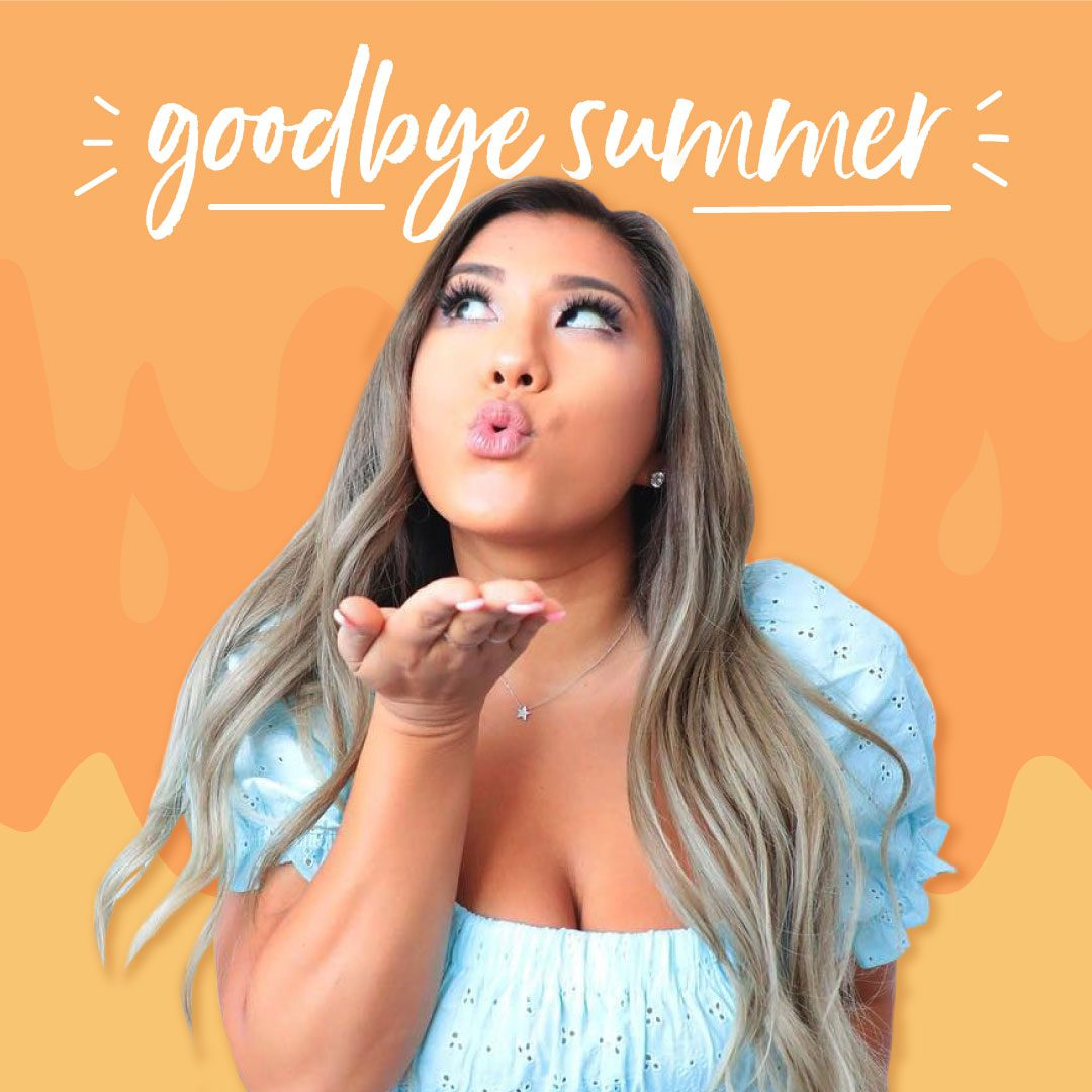 Remi blowing a kiss on an orange background