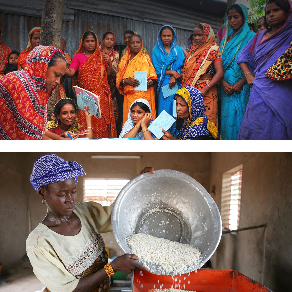 Images of women learning and cooking
