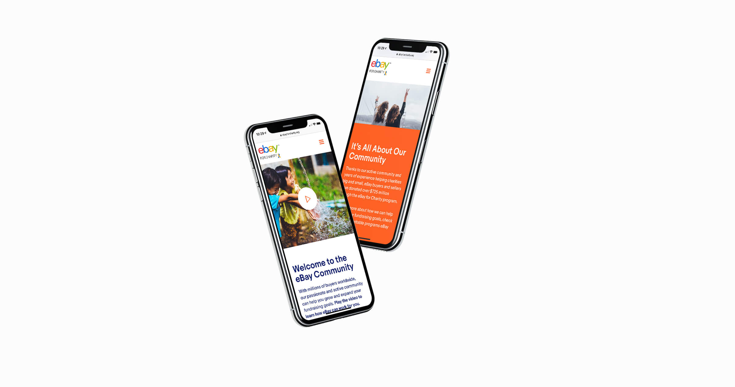 two iphones displaying the ebay for charity website