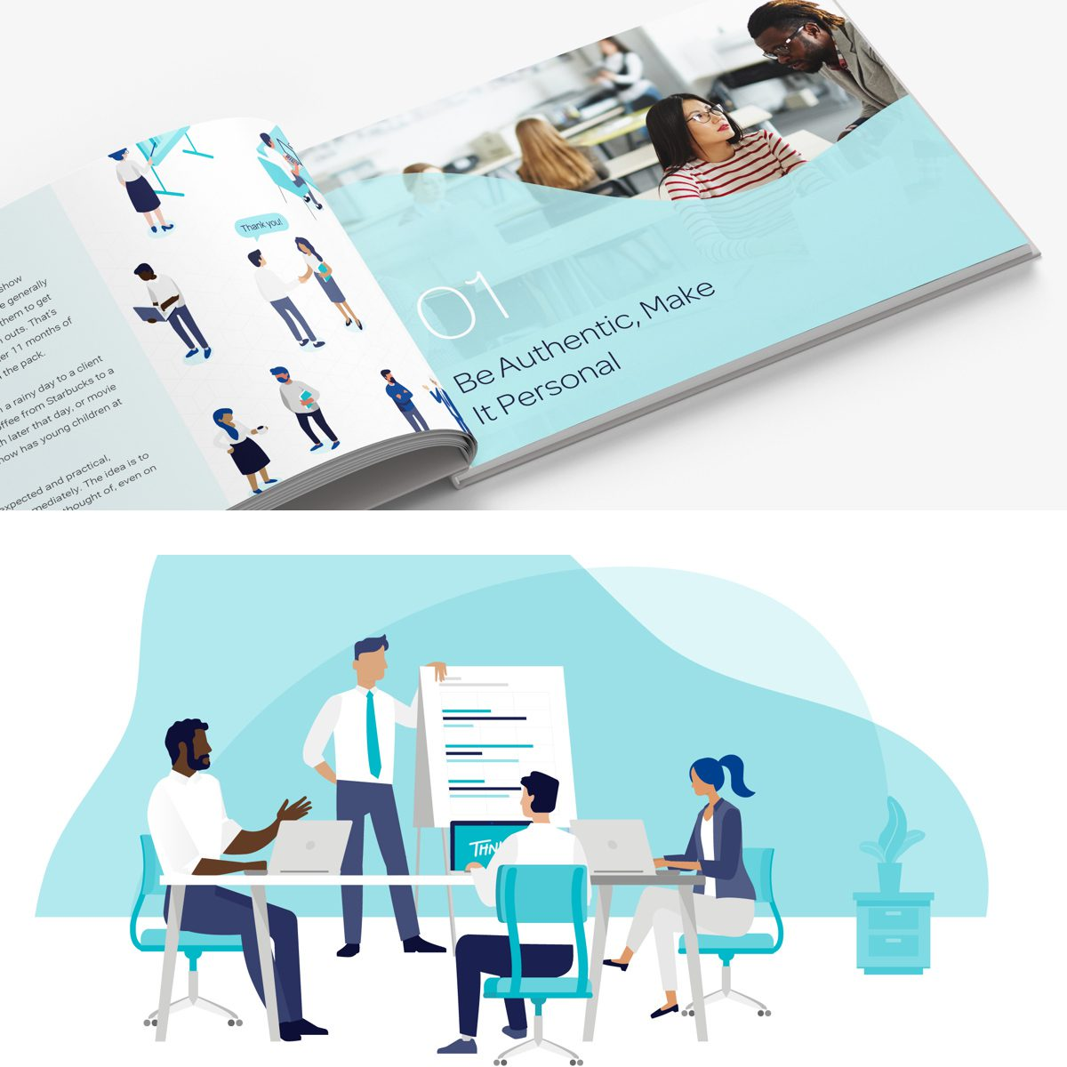 Thnks branded book design with flat illustration graphics