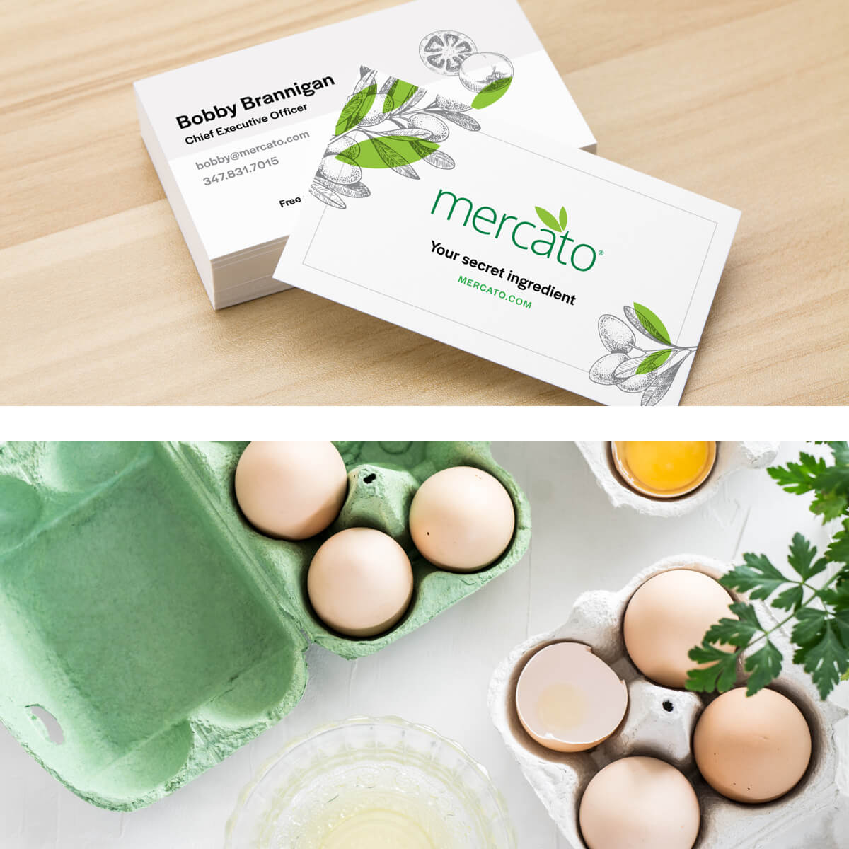 mercato business cards and groceries in a split view