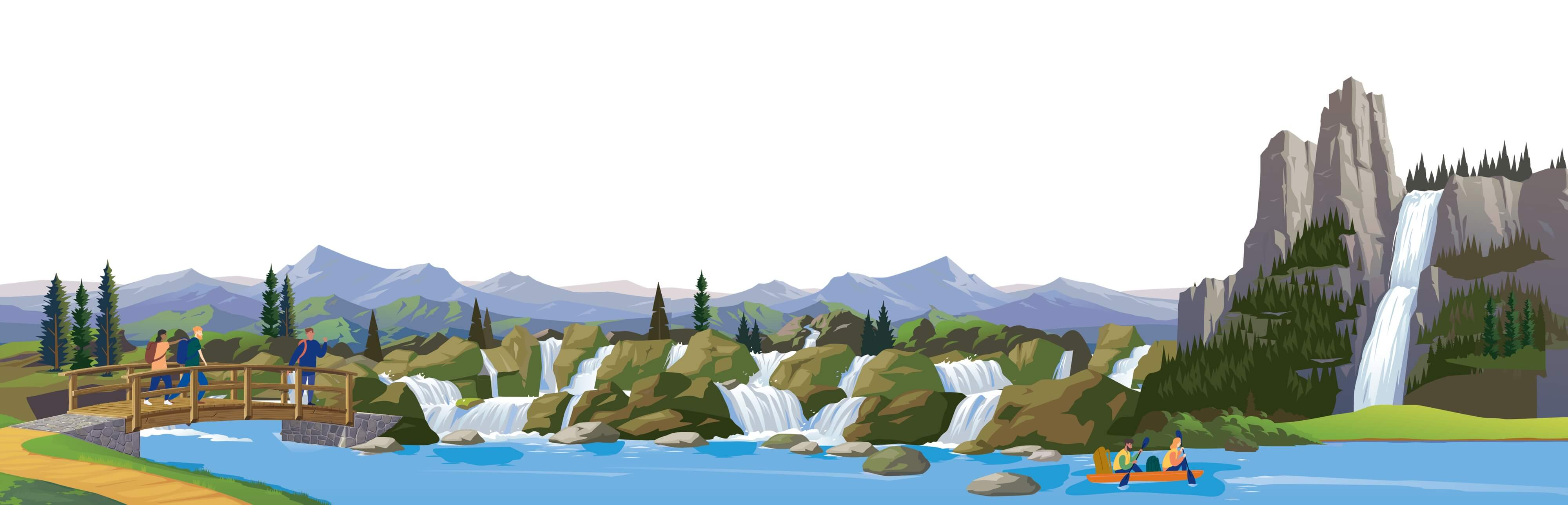 a vector illustration of a lake and scenery