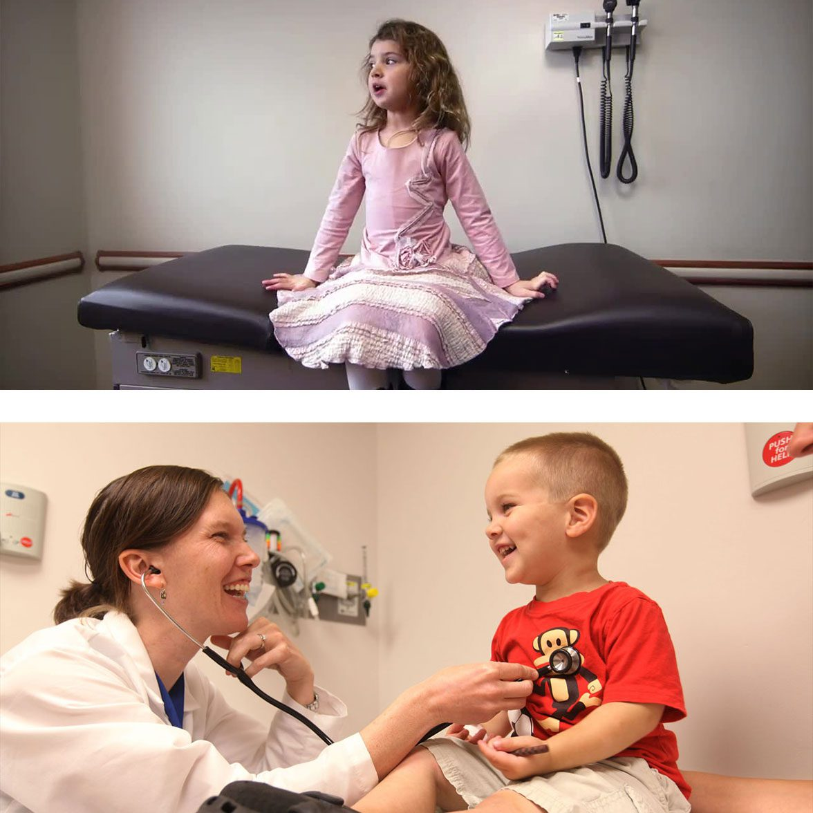 Children getting treated by a doctor