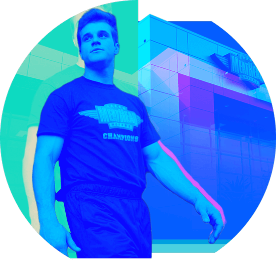 A duotone image of a Meathead Movers employee, one of Matchfire's digital marketing clients.