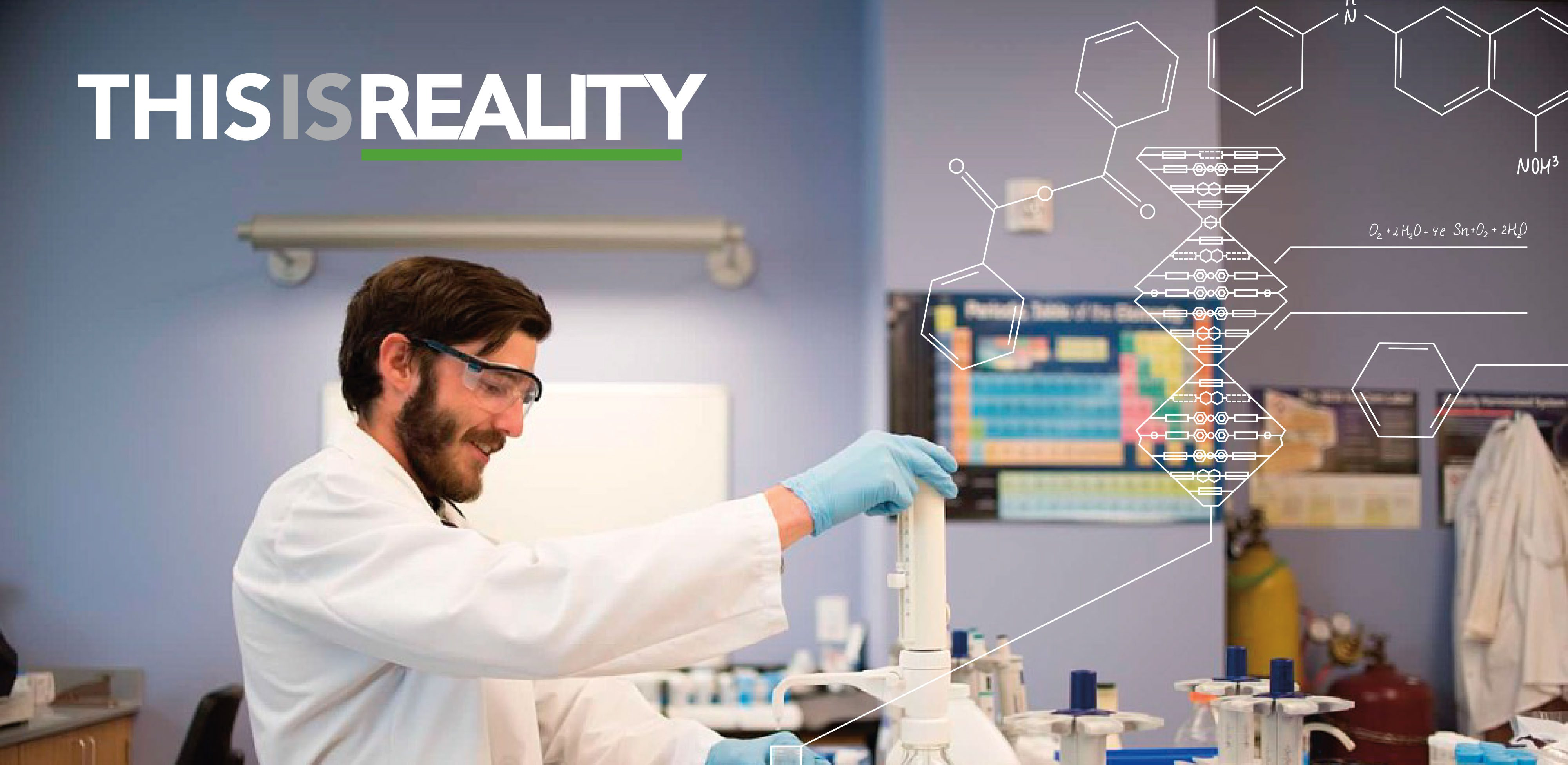 A photo of a man in a laboratory with the CAFES slogan This is Reality